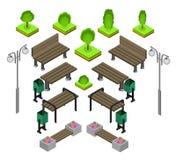 _ Utomhus- parkera bänksymbolsuppsättningen royaltyfri illustrationer