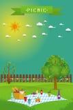 Utomhus- picknick i trädgård stock illustrationer