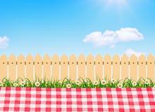 Utomhus- picknick, vårblomträd i trädgård och träträdgårdstaket stock illustrationer
