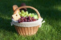 Utomhus- picknickkorg på grön gräsmatta Royaltyfria Foton