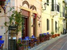 utomhus- plaka för athens cafe Royaltyfria Bilder