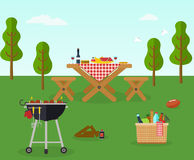 Utomhus- rekreation för picknickbbq-parti vektor illustrationer