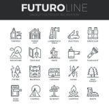Utomhus- rekreationFuturo linje symbolsuppsättning Arkivfoto