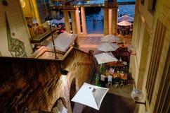 Utomhus- restaurang för Sydney stad med den forntida stentrappuppgången Fotografering för Bildbyråer