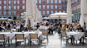 Utomhus- restaurang i madrid Arkivbild