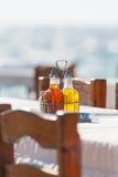 Utomhus- restaurang på Mykonos Fotografering för Bildbyråer