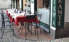 Utomhus- restaurang på sjöcomoen bellagio Arkivbilder