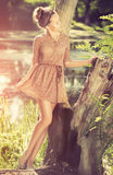 Utomhus- romantisk flicka Arkivbilder
