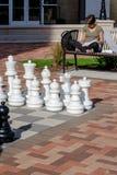 utomhus- set för schack Fotografering för Bildbyråer