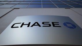Utomhus- signagebräde med den JPMorgan Chase Bank logoen byggande modernt kontor Redaktörs- tolkning 3D Arkivbilder