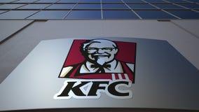 Utomhus- signagebräde med den Kentucky Fried Chicken KFC logoen byggande modernt kontor Redaktörs- tolkning 3D Royaltyfri Fotografi