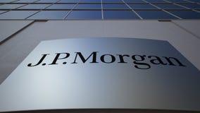 Utomhus- signagebräde med J P Morgan logo byggande modernt kontor Redaktörs- tolkning 3D Fotografering för Bildbyråer