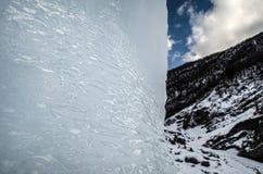 utomhus- sikt av iskvarter på djupfryst vatten i vintertextur med täckande stora bitar för ljus vit snö av sprucken is på en djup Arkivbild