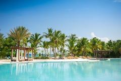 Utomhus- simbassäng av semesterorten för lyxigt hotell nära Arkivbild