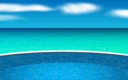 Utomhus- simbassäng på stranden royaltyfri illustrationer