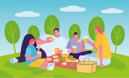 Utomhus- slagsåpbubblor för manligt och kvinnligt barn royaltyfri illustrationer
