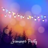 Utomhus- sommarparti för födelsedag eller brasilianjuni parti, Festa junina, inbjudan Vektorillustration med rad av royaltyfri illustrationer