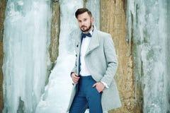 Utomhus- stående av den stiliga mannen i grå färglag royaltyfri foto