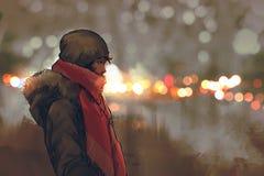 Utomhus- stående av den unga mannen i vinter med bokeh royaltyfri illustrationer