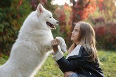 Utomhus- stående av ett gulligt litet barn, en behandla som ett barn eller litet barnflickan med hennes hund, ett gult labrador s arkivbild