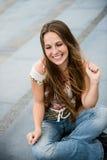 Utomhus- stående för ung kvinna Arkivbilder