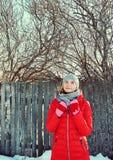 Utomhus- stående för vinter av en kvinna i en hatt och en halsduk royaltyfri foto