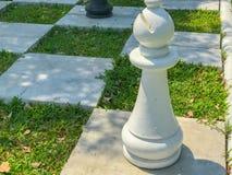 Utomhus- stort schack och rutig flagga Royaltyfria Bilder