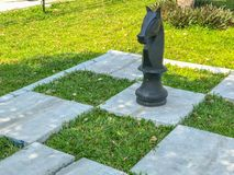 Utomhus- stort schack och rutig flagga Arkivfoton