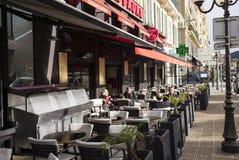 Utomhus- äta middag, Nice, Frankrike Arkivfoton