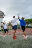 Utomhus- tennisskola Fotografering för Bildbyråer