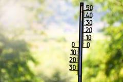 Utomhus- termometervisning som 36 grader är celsius arkivbild
