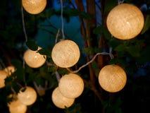 Utomhus- träd med dekorerade runda ljus, lampljus Arkivbilder