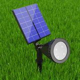 Utomhus- trädgård LEDD strålkastare med solpanelen framförande 3d Fotografering för Bildbyråer
