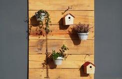 Utomhus- trädgårds- vägggarneringar Blomkrukor och fågelhus hänger på rå träpaneler Royaltyfria Bilder