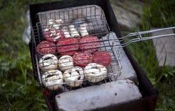 Utomhus- vegeterian grillfest royaltyfria bilder