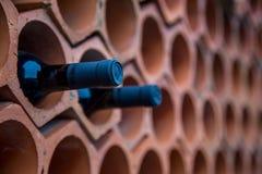 Utomhus- vinkällare med två flaskor arkivbilder
