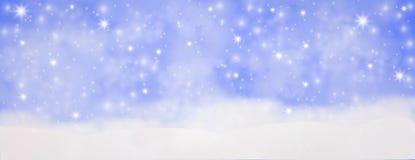 Utomhus- vinter med fallande snöflingor, panorama- rengöringsdukbanerhor stock illustrationer