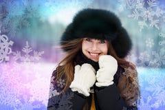 utomhus- vinterkvinna royaltyfria bilder