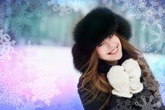 utomhus- vinterkvinna royaltyfri foto