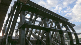 Utomhus- Watermill, stort hjul, Osijek Kroatien Arkivbilder