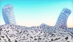Utomjordiskt rasterlandskap vektor illustrationer