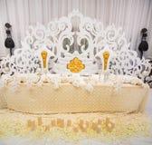 Utomordentligt dekorerad brölloptabellinställning Royaltyfri Bild