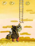 Utopia. Man full of luggage tries to grab a ladder from heaven Royalty Free Stock Photography
