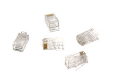 Utp connectors. RJ45  utp connectors isolated on white Stock Images