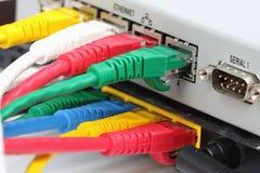 UTP LAN连接以太网端口在路由器背面。 免版税库存图片