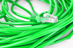 UTP network cable. Green UTP network cable wire Stock Photo