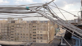 UTP wire on the roof of houses.  stock footage
