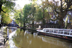 Utrecht Art City Boat in Oudegracht, Holland Stock Photo