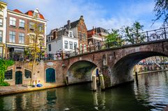 Utrecht Canals and Bridges: Amsterdam`s Little Brother stock photos
