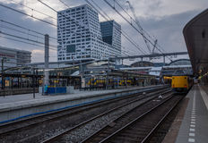 Utrecht central station with Stadskantoor in background Royalty Free Stock Image